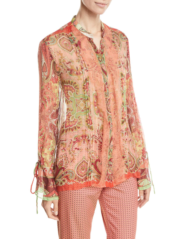 25fe6cd6f94eea Etro Lace-Trim Paisley-Print Chiffon Button-Front Blouse | Neiman Marcus
