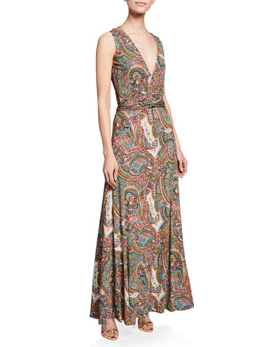 Paisley Print Jersey Halter Gown
