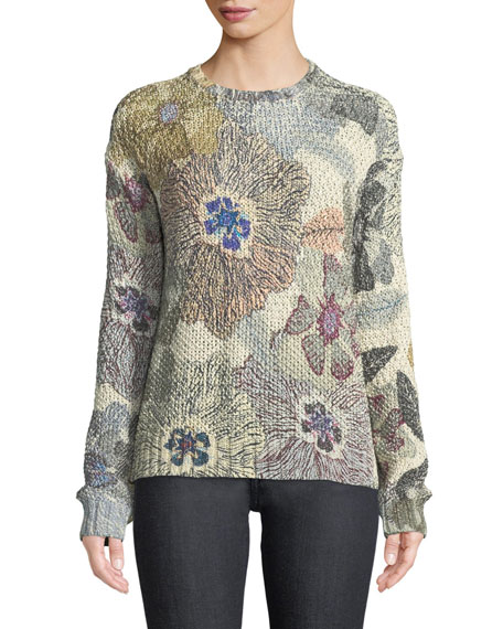 Etro Shimmer Floral-Knit Sweater