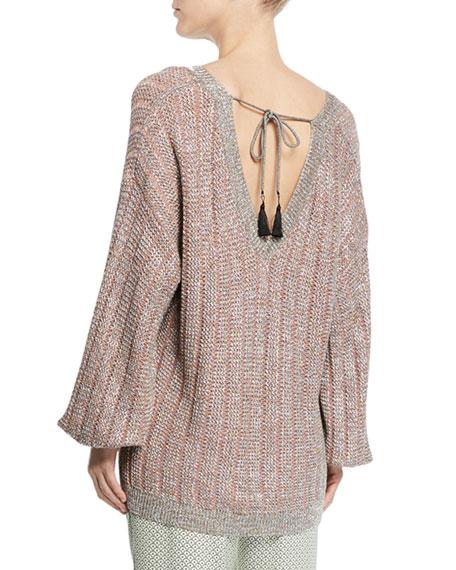 Etro V-Neck Tie-Back Loose-Knit Metallic Sweater