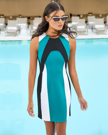 Image 2 of 4: Michael Kors Collection Colorblocked Stretch-Boucle Dress
