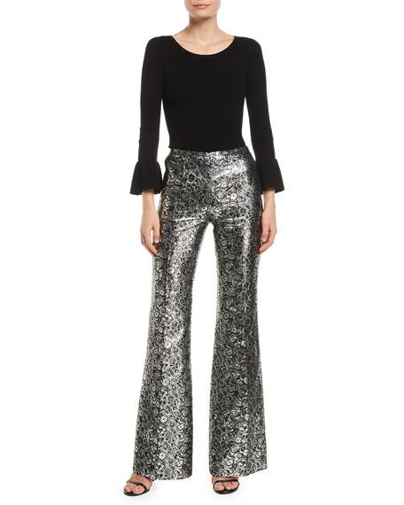 Michael Kors Collection High-Rise Metallic Floral Jacquard Flare Pants
