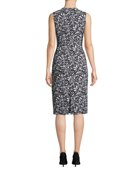 Michael Kors Collection Sleeveless Crewneck Floral-Print Stretch-Cady Sheath Dress