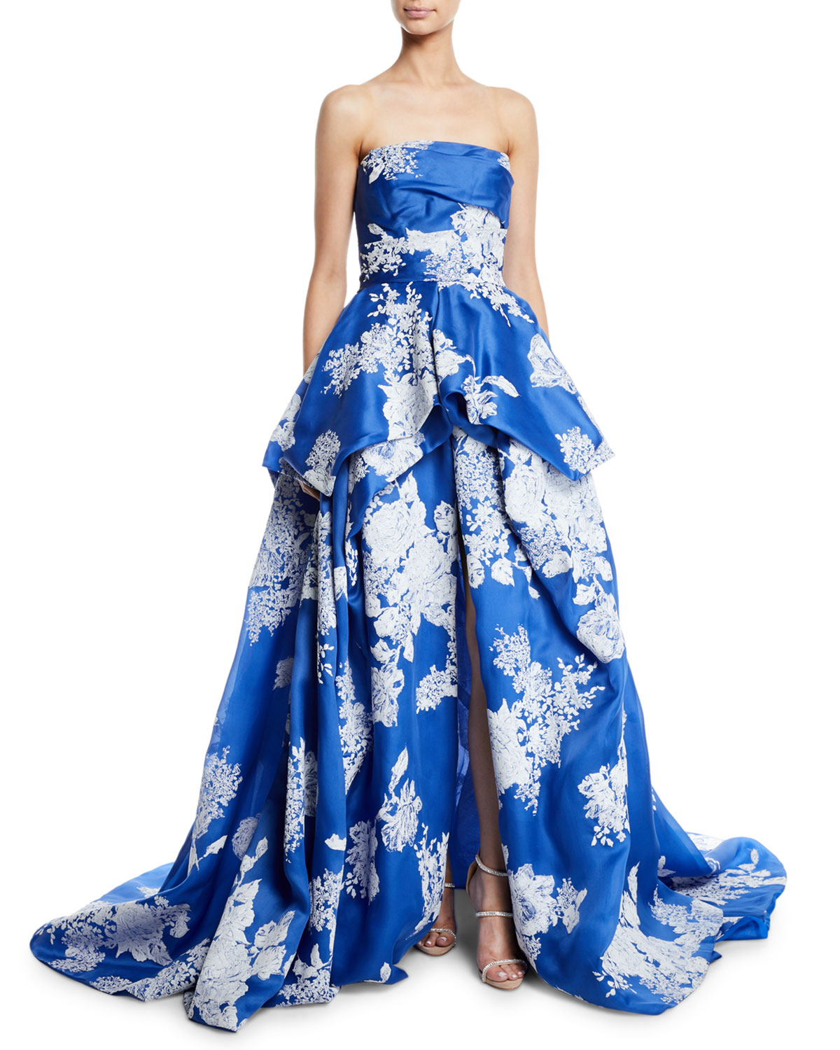53561274aa4 Monique Lhuillier Strapless Hand-Tufted Floral-Print Organza Ball Gown
