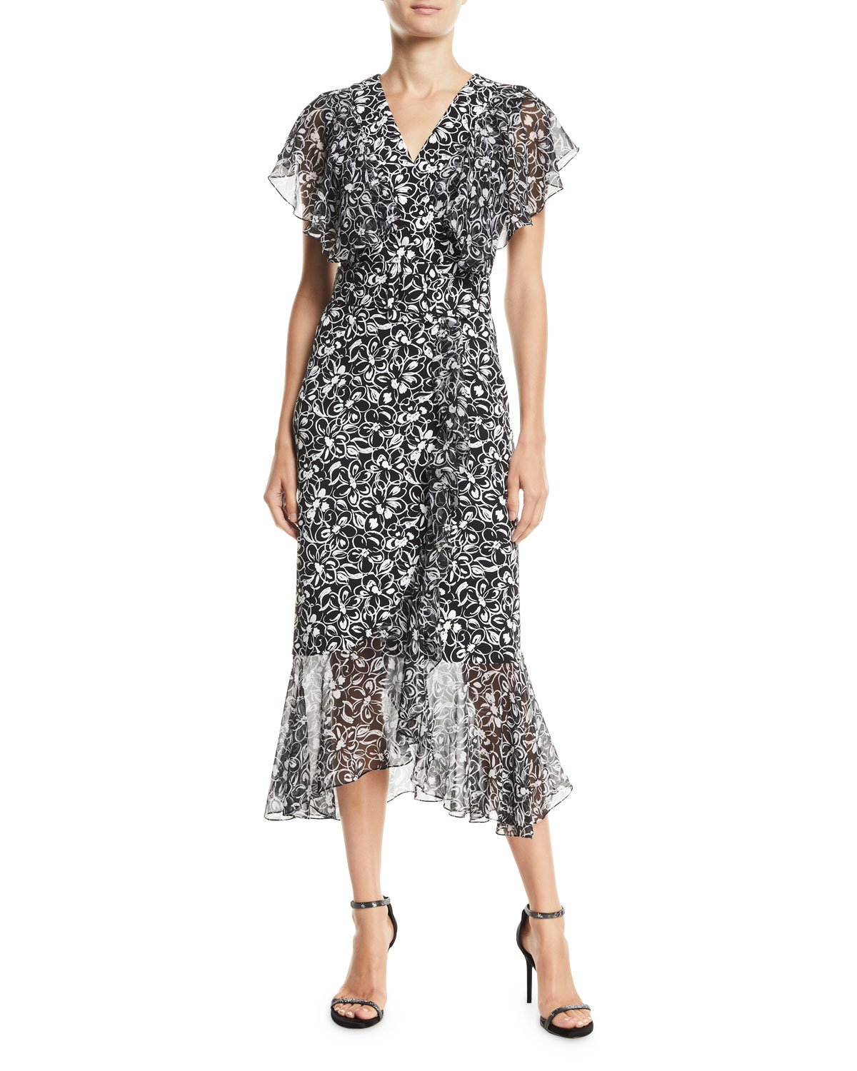 2b50b0f961 Michael Kors Collection Painterly Floral-Print Ruffled Wrap Dress ...