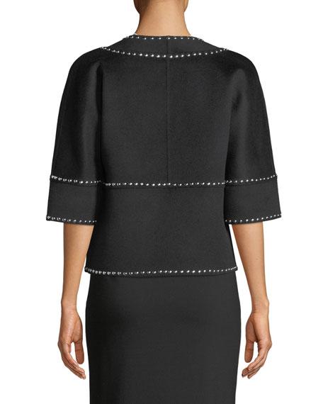 Michael Kors Collection Half-Sleeve Melton-Studded Coat