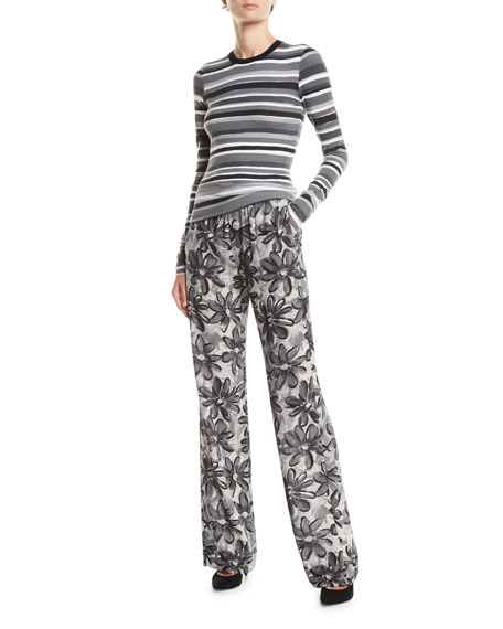 Michael Kors Collection Daisy-Print Crushed Georgette Pajama Pants