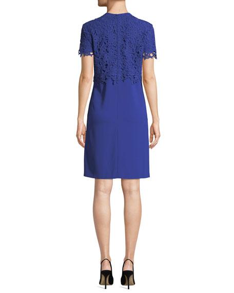 Escada Lace-Overlay Short-Sleeve A-Line Dress