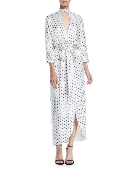 Monique Lhuillier Butterfly-Print Satin Faux-Wrap Long Dress