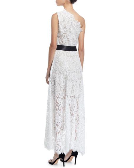 Monique Lhuillier One-Shoulder Faux-Wrap Floral Corded Lace Cocktail Dress