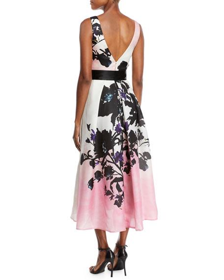 Monique Lhuillier V-Neck Sleeveless Ribbon-Belt Floral-Print Daytime Dress