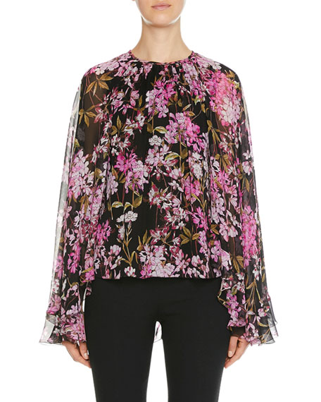 Giambattista Valli Floral-Print Cape-Back Bell-Sleeve Blouse