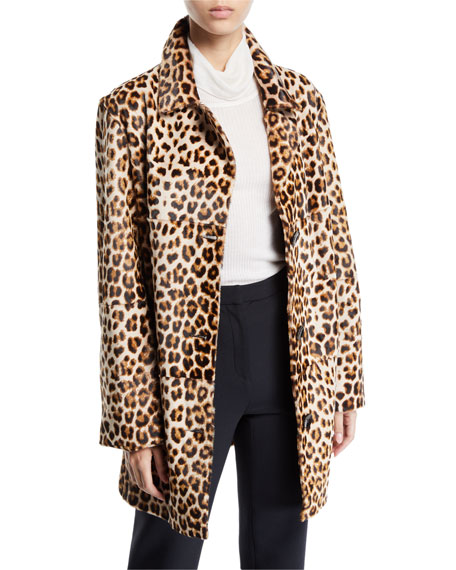 Nour Hammour Leopard-Print Shearling and Leather Coat