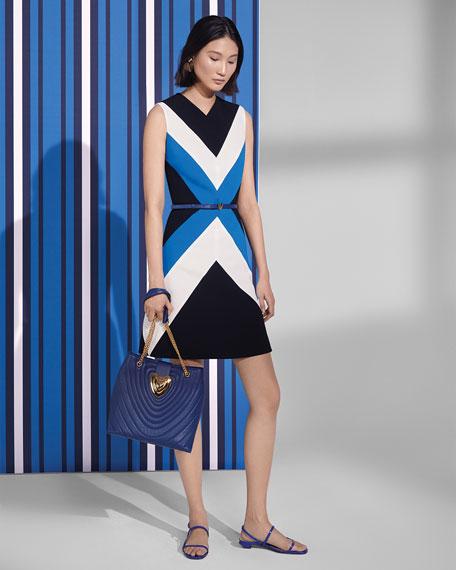 Escada Sleeveless Colorblocked A-Line Dress