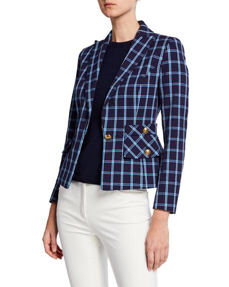 Escada Single-Breasted Windowpane Cotton Jacket