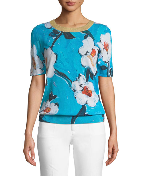 Escada Short-Sleeve Floral-Print Pullover Top w/ Metallic Trim