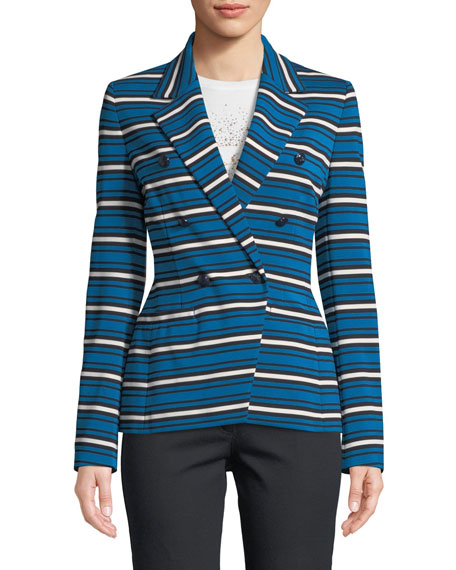 Escada Striped Double-Breasted Jacket