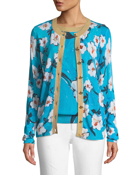 Escada Golden-Button Floral-Print Cardigan w/ Metallic Trim