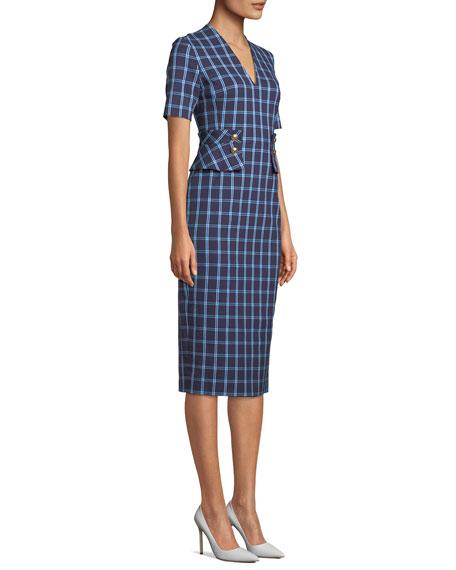 Escada V-Neck Short-Sleeve Windowpane Sheath Dress