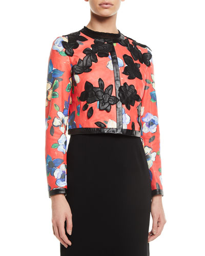 Floral-Print Lamb Leather Jacket w/ Floral-Appliques