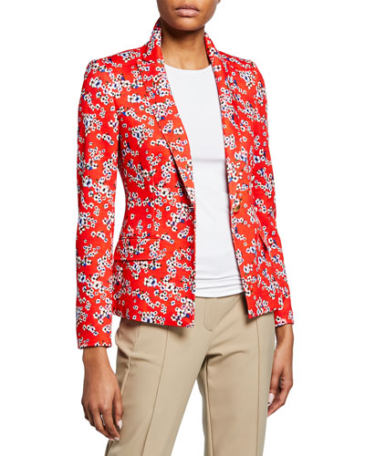 One-Button Floral-Print Jersey Jacket