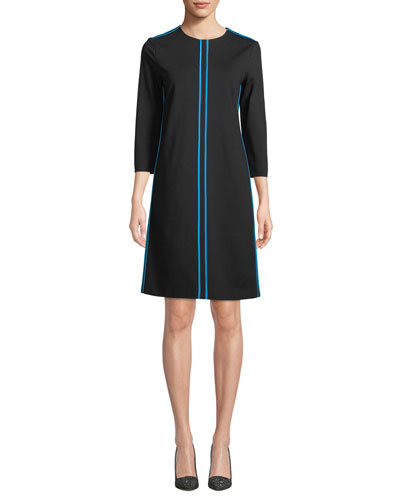 3/4-Sleeve A-Line Knit Dress w/ Piping