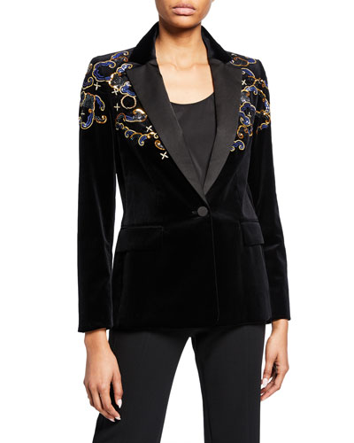 Embroidered Velvet Blazer Jacket