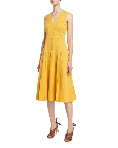 Mila Sleeveless Pintucked Cotton Sundress