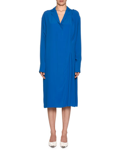 Long-Sleeve V-Neck Shift Washed Silk-Blend Shirtdress