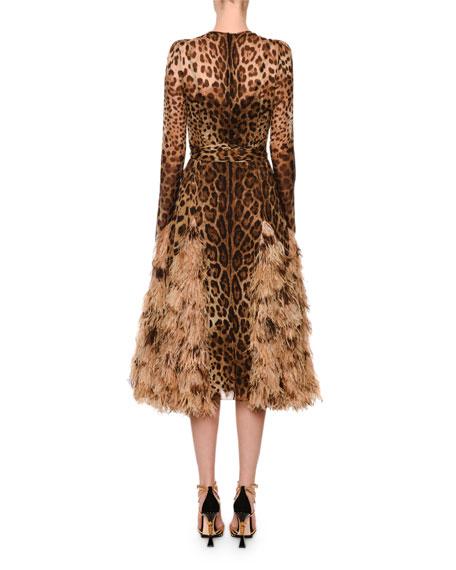 Dolce & Gabbana Long-Sleeve Leopard Print Chiffon Ostrich-Feather Hem Dress