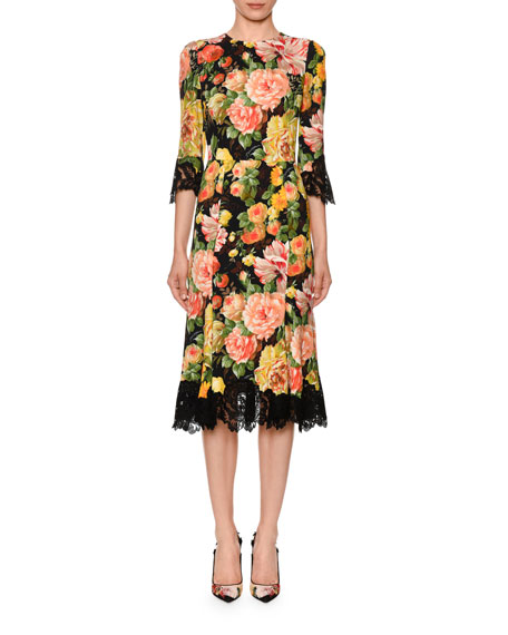 Dolce & Gabbana Lace-Trim Half-Sleeve Floral-Print Cady Midi Dress
