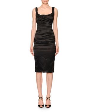 391607e3c41 Dolce   Gabbana Scoop-Neck Sleeveless Ruched Satin Dress