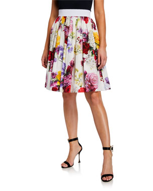 d64ce9ab52b Dolce   Gabbana Floral-Print Cotton Poplin A-Line Skirt