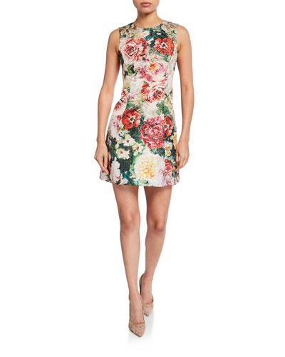 Sleeveless Poppy Brocade Dress