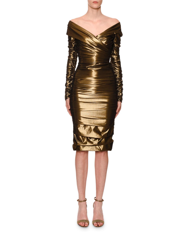 01f34f50 Dolce & GabbanaOff-The-Shoulder Ruched Stretch-Metallic Cocktail Dress