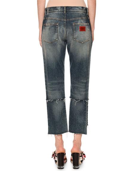 Dolce & Gabbana Mid-Rise Ripped Boyfriend-Fit Crop Jeans