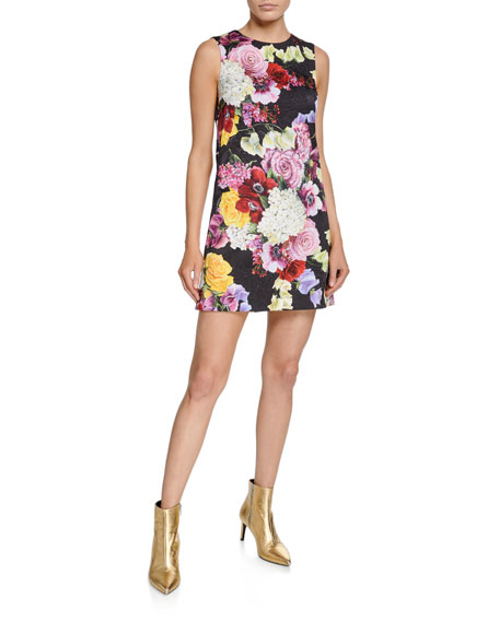 Dolce & Gabbana Sleeveless Multi-Floral Brocade Dress