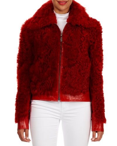 Leather-Trim Lamb Shearling Fur Bomber Jacket