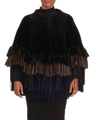 Layered Fringe-Bottom Sheared Mink Fur Jacket
