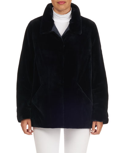 Reversible Sheared Mink Fur Wool-Blend Jacket