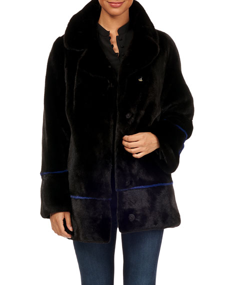 Maurizio Braschi Notch-Collar Mink Fur Jacket w/ Belt