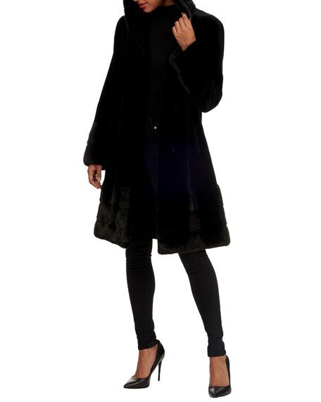 Norman Ambrose Sheared Mink-Fur Short Coat with Nap Trim