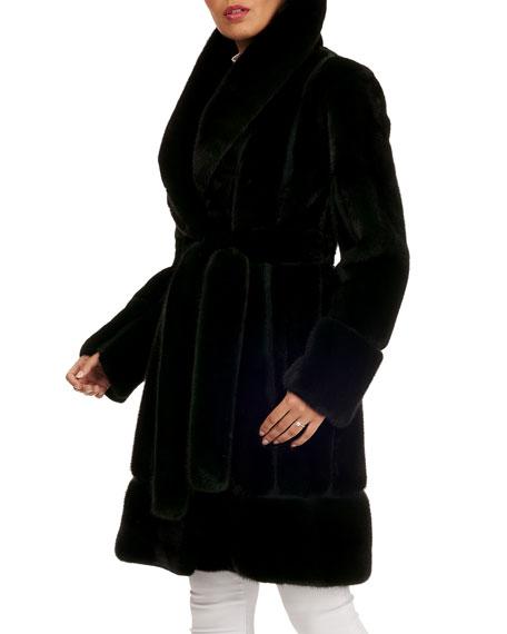 Zac Posen Mink Fur Stroller Coat w/ Suede Inserts
