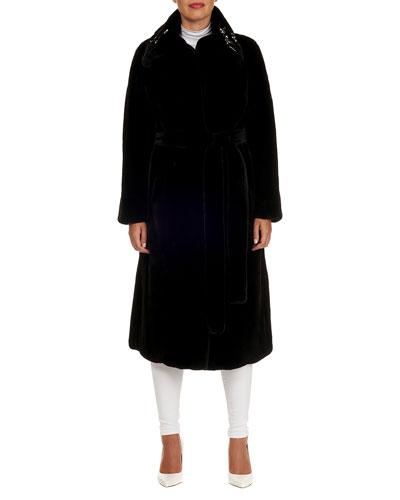 Beaded Collar & Belt Mink-Fur Mid-Calf Coat