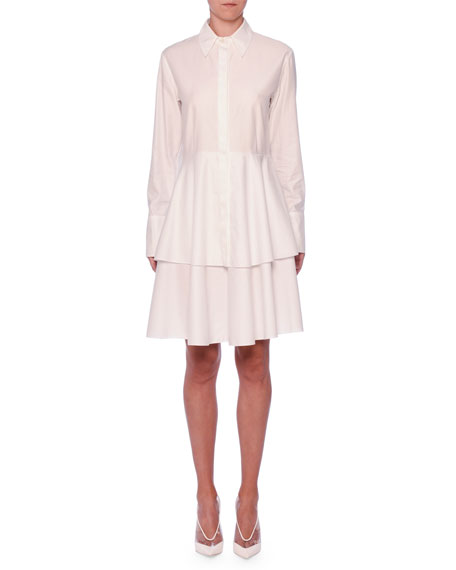 Stella McCartney Tiered-Skirt Long-Sleeve Cotton Shirtdress