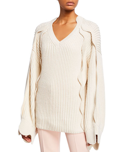 Chunky Scalloped-Sleeve Sweater