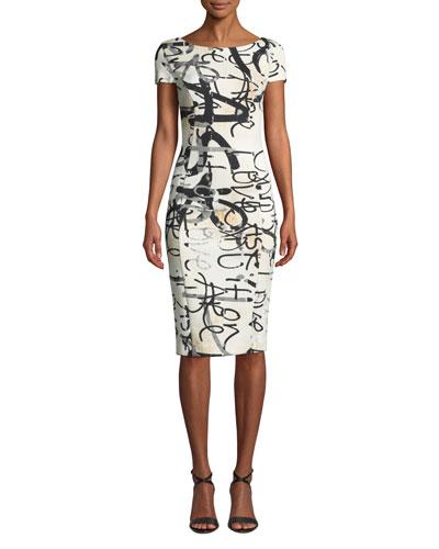 Alicali Graffiti-Print Short-Sleeve Sheath Dress