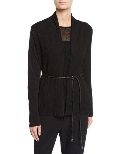 Vorra Belted Knitted Plisse Cardigan