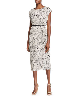 Maxmara Rina Cap-Sleeve Graffiti-Print Plisse Belted Midi Dress 16623a45bc5c