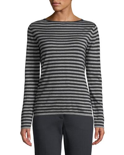 Nardo Crewneck Striped Silk-Cashmere Sweater